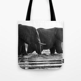 Elephants (Black and White) Tote Bag