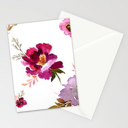 Open Floral Watercolor Stationery Cards