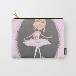 Pink & Grey Ballerina Dancer Carry-All Pouch