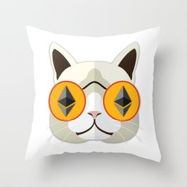 Ethereum Cat Hipster Throw Pillow