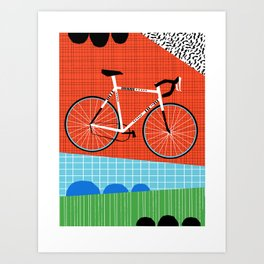 Sporty - bicycle art, schwinn paramount, biking, cycling art print, retro, memphis art print Art Print