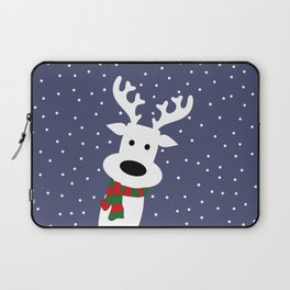 Reindeer in a snowy day (blue) Laptop Sleeve