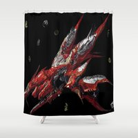 final fantasy Shower Curtains featuring Ragnarok Final Fantasy by bernardtime