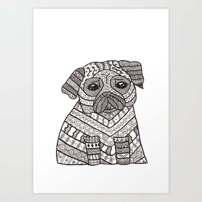 Zentangle pug Art Print