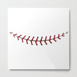 Baseball Lace Smile Metal Print