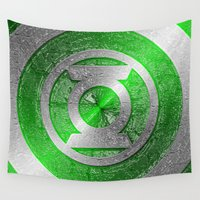 green lantern Wall Tapestries featuring Green Lantern Shield Logo by ThreeBoys