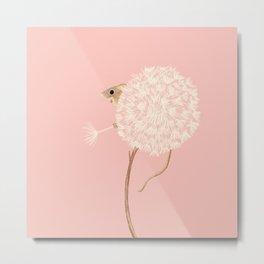 Field Mouse in a Dandelion - Pink Metal Print