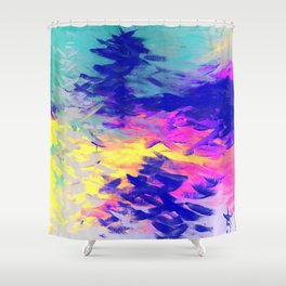 Neon Mimosa Inspired Painting Shower Curtain