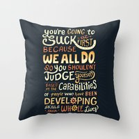 risa rodil Throw Pillows featuring Don't Be Afraid To Suck by Risa Rodil