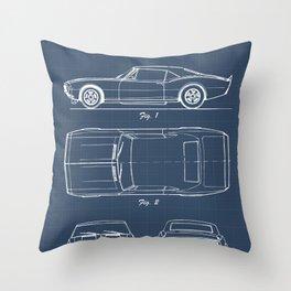 Camaro blueprint Throw Pillow