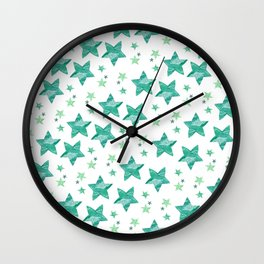 Twinkle little green stars Wall Clock