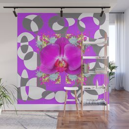 Modern Art Lilac-White Orchid Grey Patterns Wall Mural