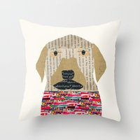 labrador Throw Pillows featuring the labrador by bri.buckley