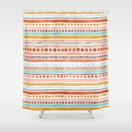 Boho Stripes - Watercolour pattern in rusts, turquoise & mustard. Nursery print Shower Curtain