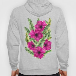 green banana palm leaves and pink flowers Hoody