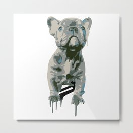 Blue Frenchie Metal Print