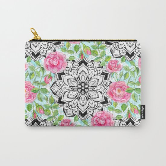 Pink Roses and Mandalas on Sky Blue Lace Carry-All Pouch
