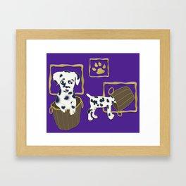 Purple puppy antics | Puppies at play Framed Art Print