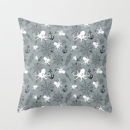 Grey Scattering Octopuses Throw Pillow
