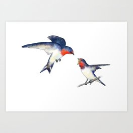 Swallow mother and baby Art Print