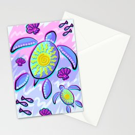 Sea Turtle and Sun Abstract Glitch Ultraviolet Symbol Stationery Cards