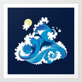Big Waves and Dolphins Art Print
