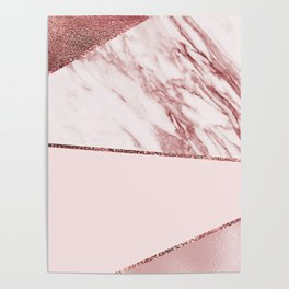 Spliced mixed pinks rose gold marble Poster