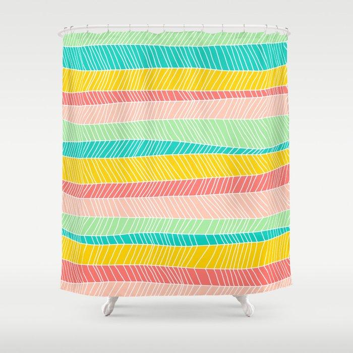 Beach Stripe (Vintage Candy) Shower Curtain by mjmstudio | Society6