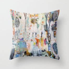 """""""Solstice"""" Original Painting by Flora Bowley Throw Pillow"""