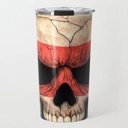 Dark Skull with Flag of Costa Rica Travel Mug