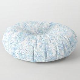 Fern Silhouette Blue Floor Pillow