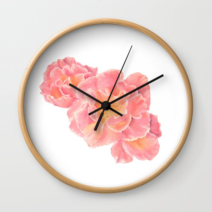 Three pink roses Wall Clock