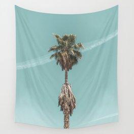 Malibu Beach Palm // California Beach Vibes Teal Ocean Sky Jetstream Photograph Wall Tapestry