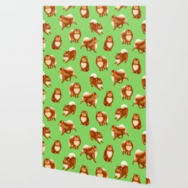 Pomeranian Pattern (Green Background) Wallpaper