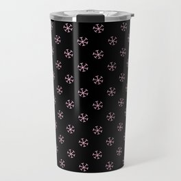 Cotton Candy Pink on Black Snowflakes Travel Mug