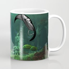 Wonderful manta rays in the deep ocean Coffee Mug