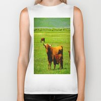 cows Biker Tanks featuring The Cows  by Rachel Ernst