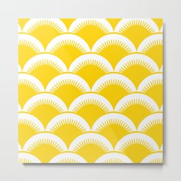 Japanese Fan Pattern Yellow Metal Print