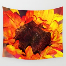 Close-up of a Bright Orange and Yellow Sunflower Wall Tapestry