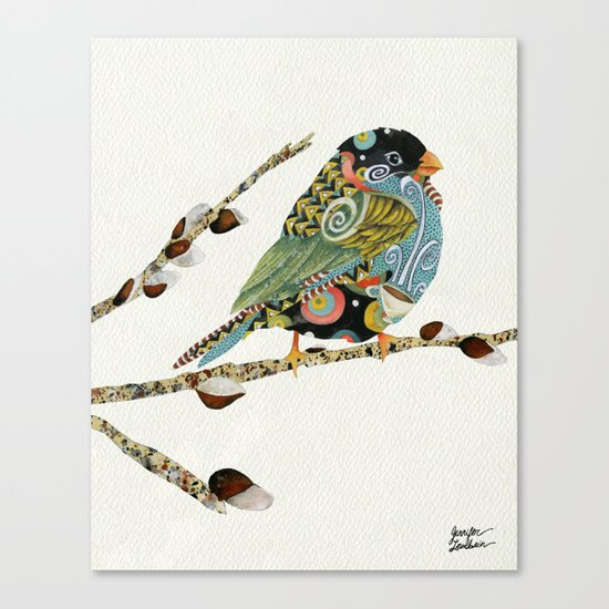 Cafe Swirly Bird 3 Canvas Print