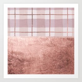Country blush coral ivory rose gold watercolor plaid Art Print
