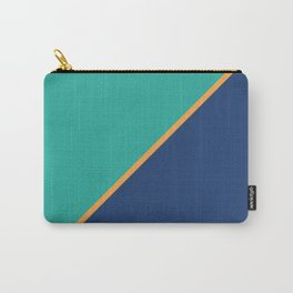 Mint & Dark Blue - oblique Carry-All Pouch