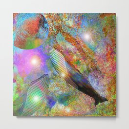 Whale in space  Metal Print