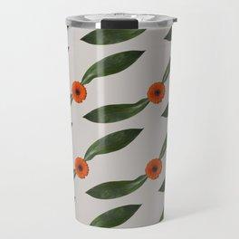 Retro Leaf and Orange Gerbera Floral Pattern Travel Mug