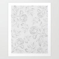 FLORAL ILLUSTRATION GREY Art Print