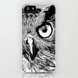 owl strix bird v2 vector art black white iPhone Case