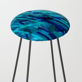 abstract composition in blues Counter Stool