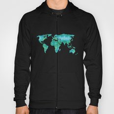 Watercolor World Map Hoody