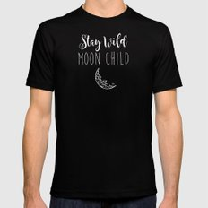 Stay Wild Moon Child MEDIUM Black Mens Fitted Tee