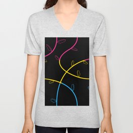 Jagged leaves, pansexual pride flag Unisex V-Neck